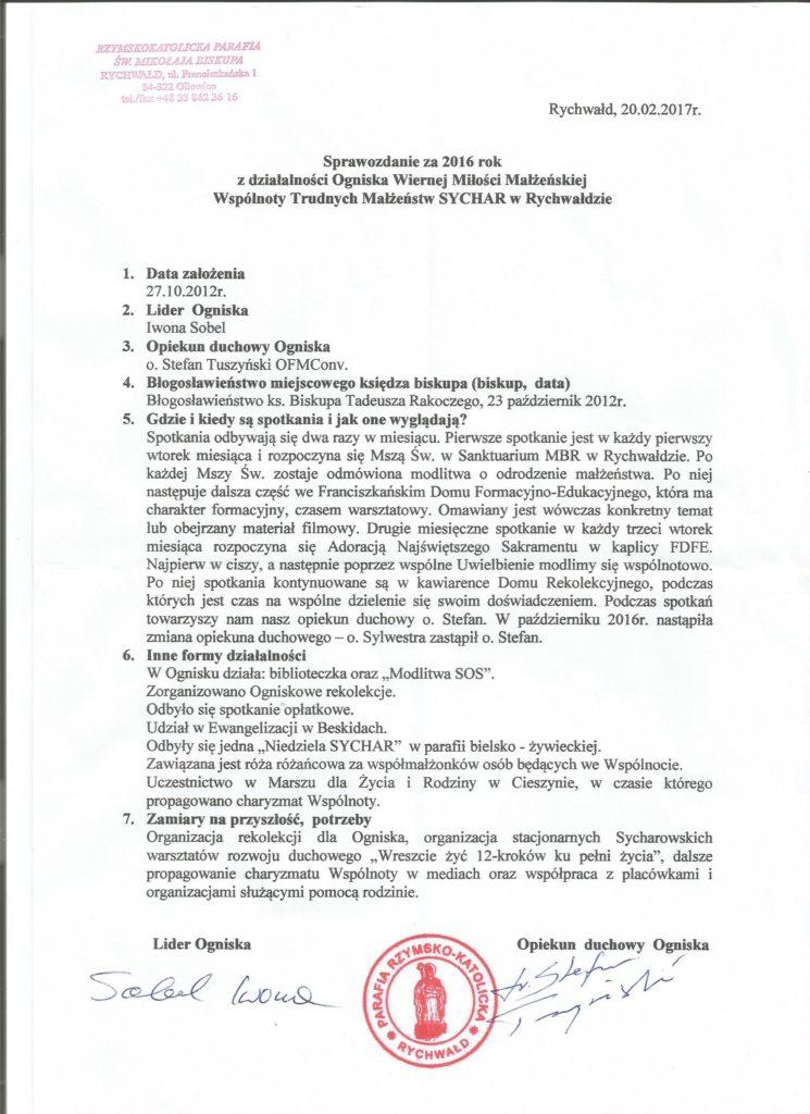 Sprawozdanie Rychwałd 2016