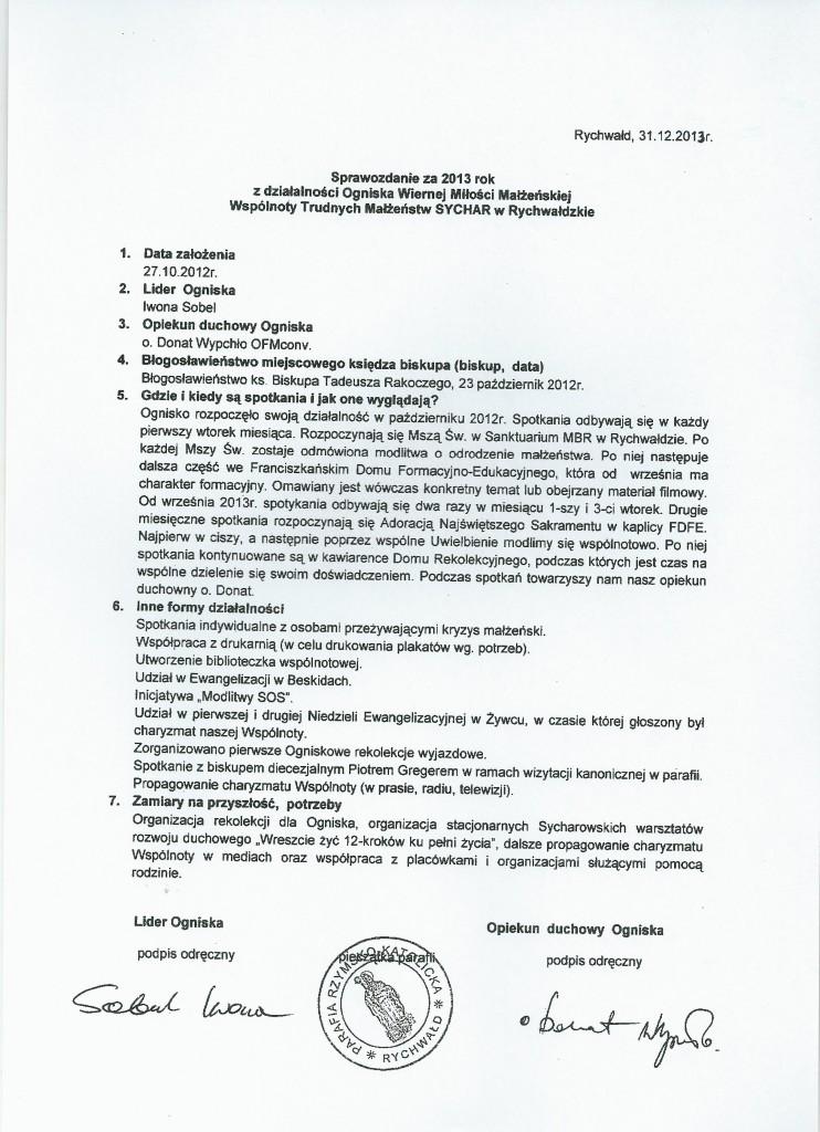 sprawozdanie 2013 Rychwałd